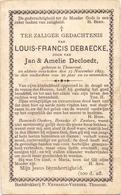 Devotie Doodsprentje - Louis Francis Debaecke - Torhout 1873 - 1893 - Décès