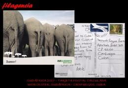 AFRICA. ÁFRICA DEL SUR. ENTEROS POSTALES. TARJETA POSTAL CIRCULADA 2017. WORCESTER. ÁFRICA DEL SUR-CIENFUEGOS. CUBA - África Del Sur (1961-...)