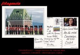 AMERICA. CANADÁ. ENTEROS POSTALES. TARJETA POSTAL CIRCULADA 2017. QUEBEC. CANADÁ-CIENFUEGOS. CUBA. CIENCIA FICCIÓN - Covers & Documents