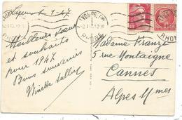 GANDON 3FR+1FR MAZELIN CARTE LYON 2.1.1947 - 1945-54 Marianne (Gandon)