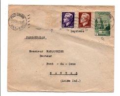 MONACO AFFRANCHISSEMENT COMPOSE SUR LETTRE POUR LA FRANCE 1950 - Monaco