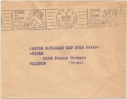 LETTRE MECANIQUE RBV FOIRE DE LYON  P.P. 9 AVRIL 1951  LYON GUILLOTIERE - Poststempel (Briefe)