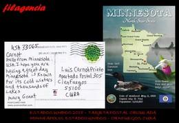 AMERICA. ESTADOS UNIDOS. ENTEROS POSTALES. TARJETA POSTAL CIRCULADA 2018. MINNEAPOLIS. ESTADOS UNIDOS-CIENFUEGOS. CUBA - United States