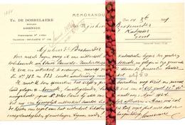 Brief Lettre - Notaris Th. De Dobbelaere Assenede - Naar Kadaster 1929 + Brief Met Antwoord - Vieux Papiers