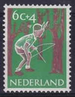 """1959 Kinderzegel 6 + 4 Ct Plaatfout """"witte Punt Onder De 2e N Van NederlaNd"""" Zegel 8 NVPH 732 P - Errors & Oddities"""