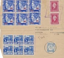 Nederlands Indië - 1947 - 14 Stamps On Taxed Coverfront Met Noodstempel NO-8 Batavia Centrum Naar Bussum - Nederlands-Indië