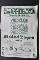 AFFICHE VELO 23ème PARIS ROUBAIX CYCLO En 1996 - Cyclisme