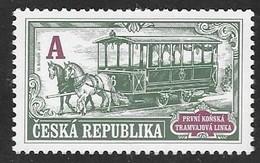 CZECHIA, 2019, MNH, TRAMS, HORSES, HORSE LINE, 1v - Transport