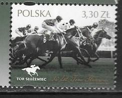 POLAND, 2019, MNH, HORSES, 80 YEARS OF SLUZEWIEC TRACK, 1v - Horses