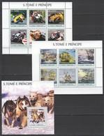 M1064 MIX 2003 S. TOME E PRINCIPE MOTORCYCLES SHIPS DOGS 2KB+1BL MNH - Motos