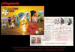 AMERICA. ESTADOS UNIDOS. ENTEROS POSTALES. TARJETA POSTAL CIRCULADA 2017. ORLANDO. ESTADOS UNIDOS-CIENFUEGOS. CUBA - Cartas
