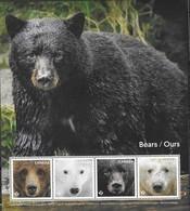 CANADA, 2019, MNH,BEARS,POLAR BEARS, BLACK BEARS, BROWN BEARS, SHEETLET - Bears
