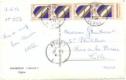 BLOC VERTICAL De 4 BLASON CHAMPAGNE 2 F. YT 953  TàD ATHIES SOMME Du 17-6-1954 - Marcophilie (Lettres)