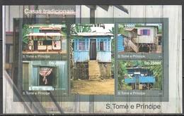 TT517 2010 S. TOME E PRINCIPE ARCHITECTURE TRADITIONAL HOUSES 1KB MNH - Otros