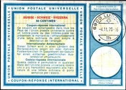 6723B) FRANCOBOLLI Coupon Reponse International 60 C. Mod. C22 Svizzera 1970 Suisse-USATO - Non Classificati