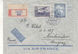 Tchècoslovaquie - Lettre Recom De 1936 - Oblit Litonmerice - Exp Vers Montevideo - Cachet De Praha - Briefe U. Dokumente
