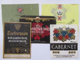 Bulgarie - Lot De 5 étiquettes De Vin Bulgare - Colecciones & Series