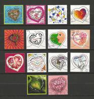 France 1 Lot De 14 Timbres Coeurs Oblitérés - Briefmarken
