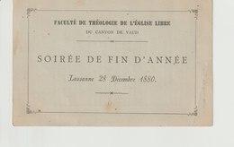 Programme: LAUSANNE Soirée De Fin D'année De La Faculté De Théologie De L'Eglise Libre 1880 - Programmes