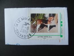 TIMBRE PERSONNALISE  LETTRE 20 GR  CHIEN DOG   OBLITERE CACHET ROND - Personalizzati (MonTimbraMoi)