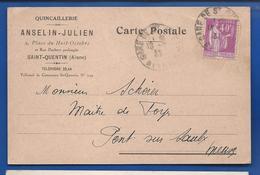 SAINT-QUENTIN  Carte à Entête Quincaillerie ANSELIN-JULIEN 2 Place Du Huit Octobre  écrite En 1933 - Saint Quentin