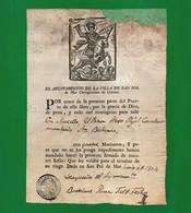 D-ES PATENTE DE SANIDAD Libre De PESTE España Sant Pol De Mar 1804 - Documentos Históricos