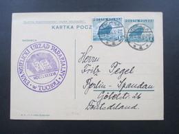 Polen 1936 Ganzsache Mit Zusatzfrankatur Tuchula Stempel Ewangielicki Urzad Parafjalny W Tucholi. Bibel - 1919-1939 Republik