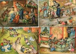 (122) CPSM  7 Cartes  De Chats Année 70 Illustrateur Signé E.K  (Bon Etat) - Katzen