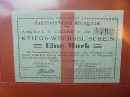 MENGEDE 1 MARK 1914 - [ 2] 1871-1918 : Impero Tedesco