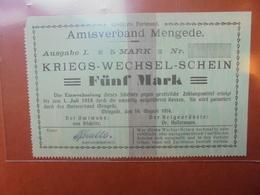 MENGEDE 5 MARK 1914 - [ 2] 1871-1918 : Impero Tedesco