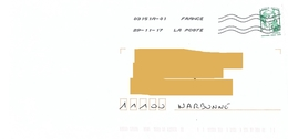Curiosité : Toshiba à La Taille De Caractères Réduite Sur Marianne Ciappa Lettre Verte - Curiosa: 2010-.. Afgestempeld