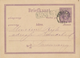 Nederlands Indië - 1884 - 5 Cent Willem III, Briefkaart G1 Van L KEDOENG DJATIE Naar Semarang - Nederlands-Indië