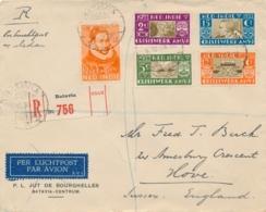 Nederlands Indië - 1933 - 12,5 Cent Willem I En AMVJ-serie Op R-cover Van LB Batavia/11 Naar Sussex / UK - LP Tot Medan - Nederlands-Indië