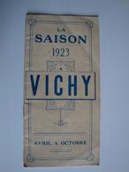 03 Vichy  Programme Des Fêtes Pour La Saison 1923 à Vichy -très Complet - Programs