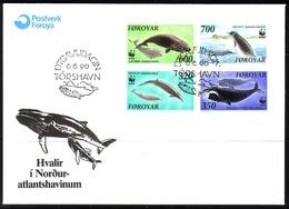 FÄRÖER MI-NR. 203-206 FDC FISCHE WALE 1990 - Färöer Inseln