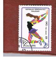 MADAGASCAR -  SG 866  -   1991  WINTER OLYMPIC GAMES: ICE SKATING  -  USED° - Madagascar (1960-...)