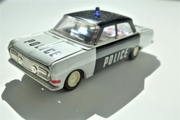 Vintage TIN TOY CAR : Mark PLASTICART With BOX - Police Car - 15cm - DDR GDR GERMANY- 1960's - Friction Powered - Collectors Et Insolites - Toutes Marques