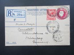 GB 1931 Registered Letter Edinburghn 73 No. 2810 Stempel Murrayfield Einschreiben Mit Zusatzfrankatur - 1902-1951 (Könige)