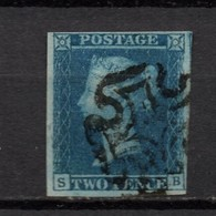 GB Victoria Line Engraved  2d Blue Fine Used.    With Maltese Cross - 1840-1901 (Viktoria)