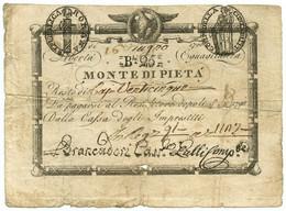 25 BAJOCCHI RESTO MONTE DI PIETÀ REP. ROMANA VALORE IN CIFRE 16/06/1798 MB - Italia