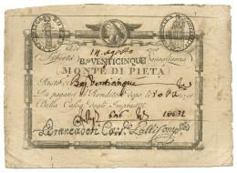 25 BAJOCCHI MONTE DI PIETA' (VALORE IN LETTERE) - (RIF. CRAPANZANO SM 78) 14/08/1798 SUP - Italia