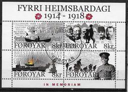 """Iles Féroé 2014 Bloc F810a Oblitéré 1ere Guerre Mondiale Surchargé """"in Memoriam"""" Avec Fleurs - Faroe Islands"""