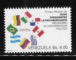 Venezuela 1987 Meeting Of 8 Latin American Presidents 1st Anniversary Flag MNH - Venezuela