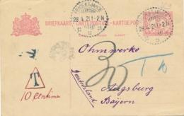 Nederlands Indië - 1921 - 5 Cent Cijfer, Briefkaart G27 Van LB PRIOEKTJAHOE Naar Augsburg / Deutschland - Taxed - Nederlands-Indië