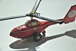 Vintage TIN TOY HELICOPTER  : Mark PLASTICART With BOX - FIRE PATROL - 19cm - DDR GDR GERMANY- 1960's - Friction Powered - Collectors Et Insolites - Toutes Marques