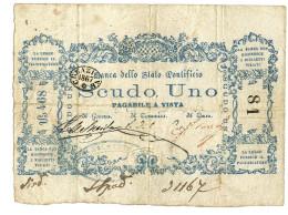1 SCUDO BANCA DELLO STATO PONTIFICIO 1867 BB+ - Italia