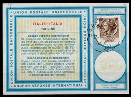 ITALIA / ITALIE / ITALY Vi19 120 Lire + 20 LIRE Stamp Int. Reply Coupon Reponse Antwortschein IAS IRC O BARI 23.4.74 - 6. 1946-.. Repubblica