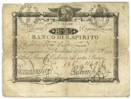 50 BAJOCCHI RESTO BANCO SANTO SPIRITO REP. ROMANA CIFRE NEGATIVE 23/06/1798 MB+ - Italia