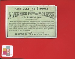 ST SAINT RAMBERT Ain VERNIER Pastilles Bourgeons Sapin Mazières Hauteville  Pharmacien  étiquette Pharmacie  CIRCA 1900 - Etiquettes
