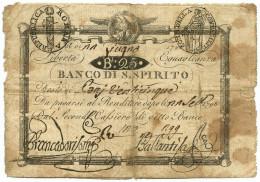 25 BAJOCCHI RESTO BANCO SANTO SPIRITO REP. ROMANA CIFRE NEGATIVE 22/06/1798 MB+ - Italia
